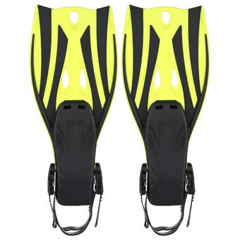 Pair of Wave Snorkeling Open Heel Fins Flippers - Size S/M (Yellow)