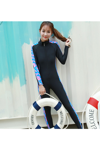 Uv warm sun-protective clothing jellyfish coat long-sleeved wetsuit (Blue)