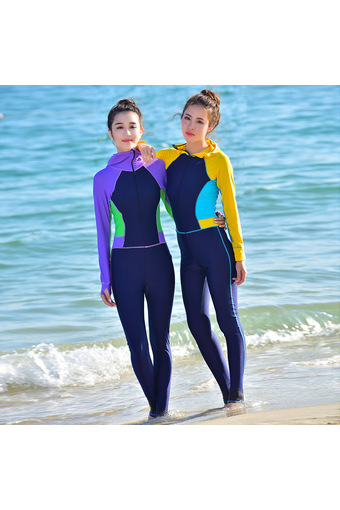 With hood conjoined long-sleeved pants sun-protective clothing garment of jellyfish long-sleeved wetsuit (Yellow)