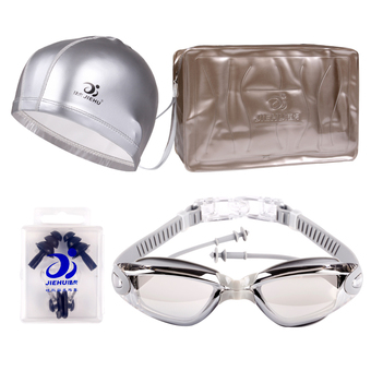 Anti Water and Fog Chain Plugs UV400 Goggles Big Frame Electroplating Swimming Glasses for Men and Women (Gray)