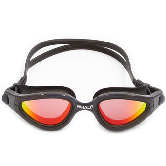 Whale New Mirror Anti-fog Swimming Glasses silicone swimming goggle with UV400(Black)