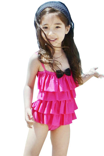 BEST Child Baby Little Girls Bikini Swimwear Swimsuit Bathing Suit ชุดว่ายน้ำสำหรับเด็ก - (Rose Red)