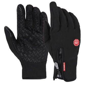 Extra Large Size Ski Gloves Winter Insulated Full Finger Touch Screen Waterproof Warm Gloves in Black