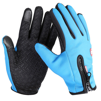Extra Large Size Ski Gloves Winter Insulated Full Finger Touch Screen Waterproof Warm Gloves in Blue