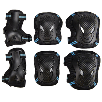 6pcs Protector Kids Adult Skating Scooter Elbow Knee Wrist Safety Pads Gear Set (Black Blue, L)