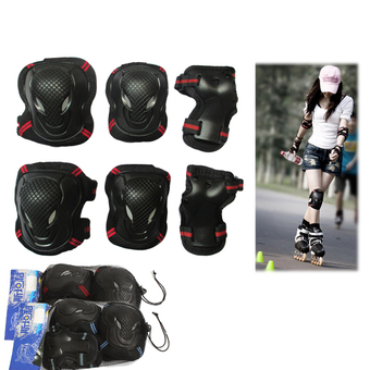 Sports Protective Gear Safety Pad Safeguard (Knee Elbow Wrist) Support Pad Set Equipment for Adult Roller Bicycle BMX Bike Skateboard Extreme Sports Bogu Protector Guards Pads (S size)