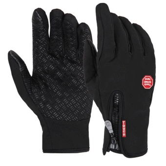 Medium Size Ski Gloves Winter Insulated Full Finger Touch Screen Waterproof Warm Gloves in Black