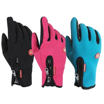 Medium Size Ski Gloves Winter Insulated Full Finger Touch Screen Waterproof Warm Gloves in Blue