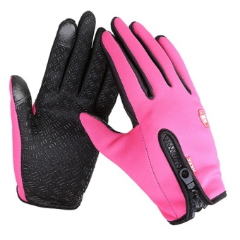 Medium Size Ski Gloves Winter Insulated Full Finger Touch Screen Waterproof Warm Gloves in Rose