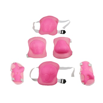 Kids' Professional 6 PCS Protective Gear Knee Elbow Palm Safety Pad Safeguard Wrist Brace Support Pad Set equipment Protector for Children Roller Skating GYM Skateboard Pink