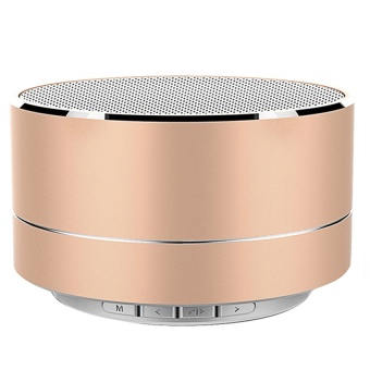 Vococal A10 Mini Portable Rechargeable LED Light Wireless Bluetooth 3.0 Stereo Speaker with TF Card Slot AUX Cable (Gold)