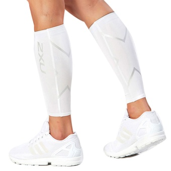 2xu Unisex Compression Fitness Legwarmers Leggings Set Sport Protect The Calf Joggers Superelastic White M - intl