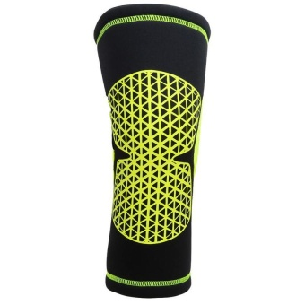 LALANG 1pc Sport Knee Pad Protector Basketball Volleyball Fitness Knee Support Brace L (Fluorescent Green)