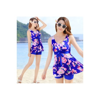 New Elegant Floral Print Split Swimwear Sling Beachwear Sea Blue