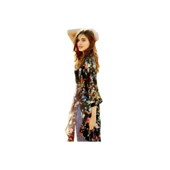Women Chiffon Floral Beachwear Bikini Cover Up Black