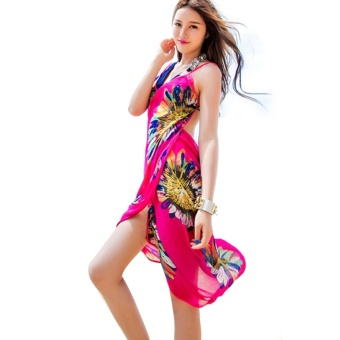 Women Deep V Backless Wrap Chiffon Swimwear Bikini Beach Cover Up Sarong Beach Dress Rose Red