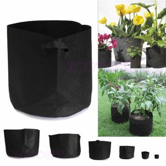 5pcs Fabric Pots Plant Pouch Round Container Grow Bag Aeration Pot Container 7 Gallon (Black)