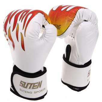 1 Pair Suten Sparring Muay Thai Grappling Fire Pattern Kick Boxing Gloves - INTL