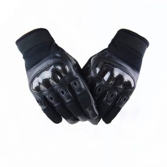 Tactical Gloves Army Outdoor Paintball Slip-resistant Airsoft Shooting Full Finger Racing Gloves Black (Intl)