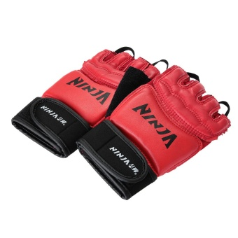 WiseBuy Pair NINJA Half-Finger Gloves Red for Boxing Fighting Protection Professional