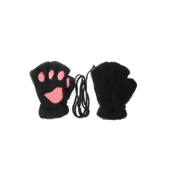HengSong Bear Paw Winter Half Finger Gloves Black