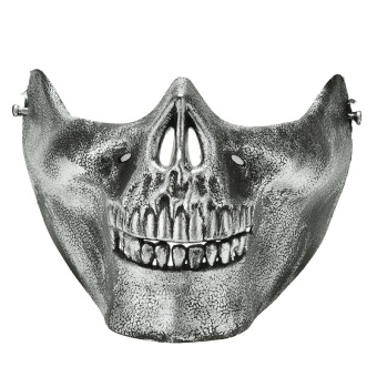 Jetting Buy Skull Skeleton Airsoft Game Hunting Biker Half Face Protect Gear Mask Guard Silver