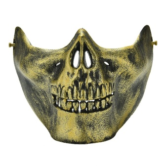 Jetting Buy Skull Skeleton Airsoft Game Hunting Biker Half Face Protect Gear Mask Guard Gold