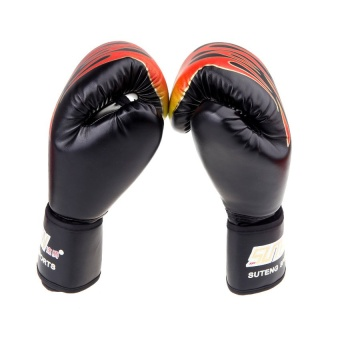 PU Leather MMA Professional Flame Muay Thai Training PunchingSparring Boxing Gloves Black