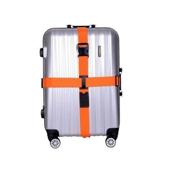 กระเป๋าเดินทาง Heavy Duty Long Cross Luggage Strap Suitcase Travel Belt Non-slip สีส้ม