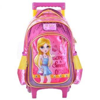Ziyan Cute Pattern Girl School trolley Backpack Pink(14 inch) - Intl