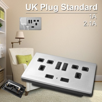 Wall Socket Dual 2 USB Plug Power Supply Plate with Switch 1000mA UK Plug HS782 - intl