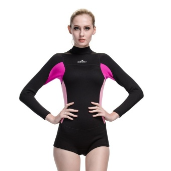 Women 2mm Neoprene Rubber Wetsuits Swimsuit Lady Snorkeling Surf Windsurf Scuba Diving Suit Long Sleeve - Black