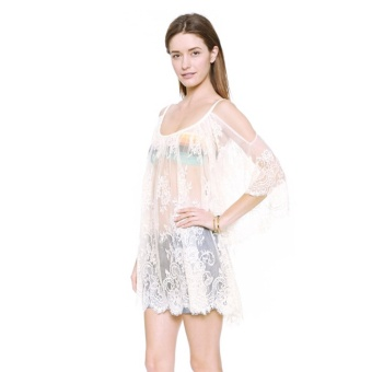 Autumn Summer Sexy See-through Women Floral Lace Crochet Shirts Long Sleeve Loose Tops Blouses White XL/US 6-8