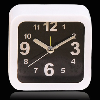 Classic Small Square Alarm Clock Desk Table Desktop Time Clock Simple Style Home Office Decoration Novelty Birthday Holiday Gift White + Black