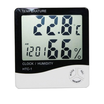 iBettalet Digital LCD Thermometer Hygrometer Temperature Humidity Meter Gauge Alarm Clock (White)