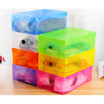 Transparent Plastic Clamshell Shoebox Stackable Foldable Storage Shoe Container Pink - Intl
