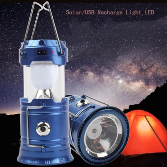 MP.DC แบทสำรองตะเกียง Outdoor LED Solar Camping Light & Flashlight & USB Power Bank Tent Lamp Lantern (สีน้ำเงิน)