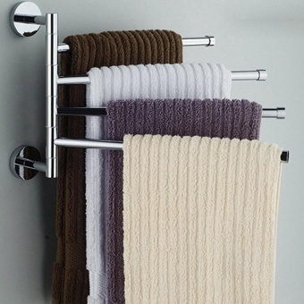 Stainless Steel Swing Out Towel Bar Hanger Holder Organizer Wall Mounted - intl