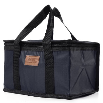 Waterproof Thermal Cooler Insulated Lunch Box Storage Picnic Large Bag Foldable navy blue