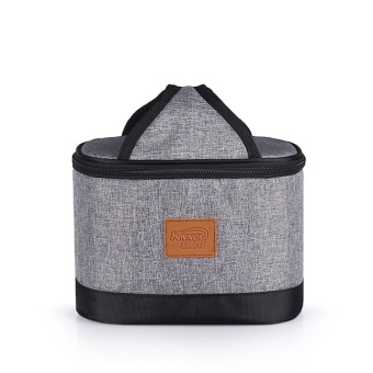 Oval Waterproof Insulated Cooler Lunch Tote Bags 4.2L(Heather Grey)