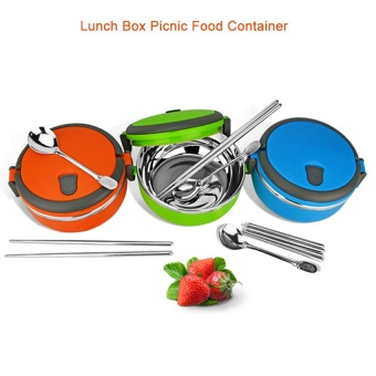 2016 Best Quality Thermal Insulated Stainless Steel Portable single layer Lunch Box Picnic Food Container(blue)