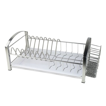 360DSC Multifunction 304 Stainless Steel Dish Rack Kitchen Shelves (Without Chopsticks Holder) - Silver