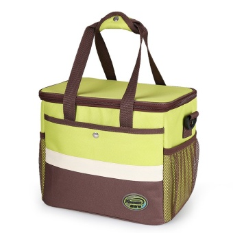 Splice Square Waterproof Insulated Cooler Lunch Tote Bags 13.5L(Yellowgreen)