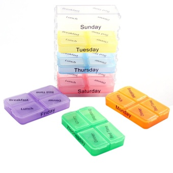S & F Medicine Weekly Storage Pill 7 Day Tablet Sorter Box Container Case Organizer
