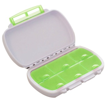 Portable Plastic Travel 6-Compartment Waterproof Moistureproof Medicine Vitamin Tablet Pill Storage Box Container Case Green