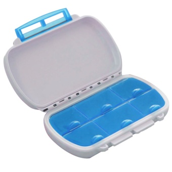 Portable Plastic Travel 6-Compartment Waterproof Moistureproof Medicine Vitamin Tablet Pill Storage Box Container Case Blue
