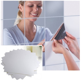 Moonar 15CM Square Bathroom Mirror Paster Big Mosaic Back Glue Decorative Mirror Stickers 9Pcs/set