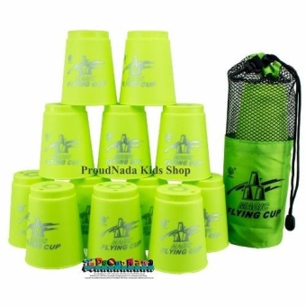 ProudNada Toys Stack Cup เกมส์เรียงแก้ว(สีเขียว) Magic flying stacked cup 12 PCS Rapid cup NO.P13(Green)(Green)