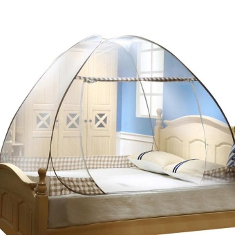 Folding Mosquito Netting for bed 1.8m x 2m coffee