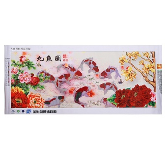 Chinese Diamond Embroidery 5D Paintings 9 Fish Cross Stitch Wall Decoration DIY - Intl